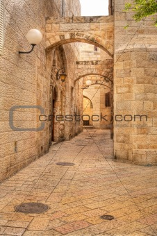 Old street in Jerusalem, Israel.