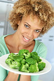 Mid Adult Woman Holding A Plate Of Broccoli, Smiling At The Came