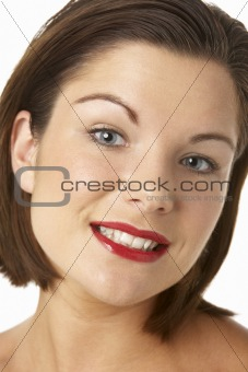 Portrait Of Young Woman With Red Lipstick