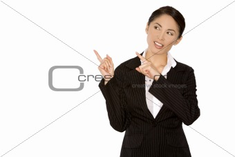 woman pointing with fingers