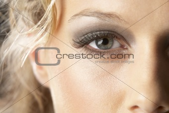 Close-Up Of Young Woman With Glamorous Make-Up