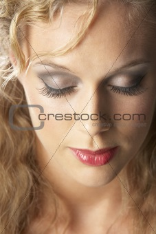 Close-Up Of Young Woman With Closed Eyes