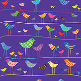 Vector funny bird. Seamless pattern.