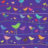 Vector funny bird. Seamless pattern.