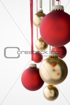 Group Of Hanging Christmas Decorations