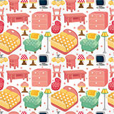 cartoon pink furniture seamless pattern