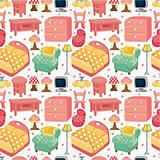 cartoon pink furniture seamless pattern
