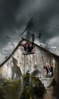 Haunted barn with ghosts flying and dark skies