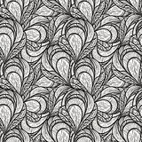 Seamless abstract floral pattern, monochrome