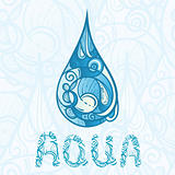 abstract hand drawn drop of water with aqua letters