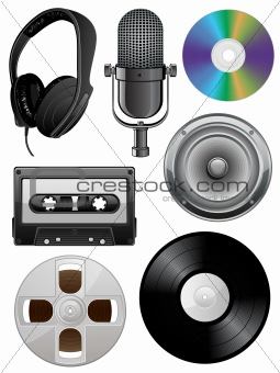 Music icons set. Vector illustration.