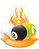 Billiard ball emblem  in flame