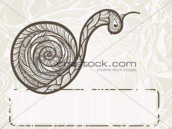 vector hand drawn monochrome snail  with frame for your text