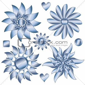 Blue and gray flowers and  hearts,