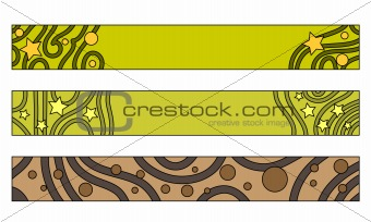 Green and brown button, label or banner collection