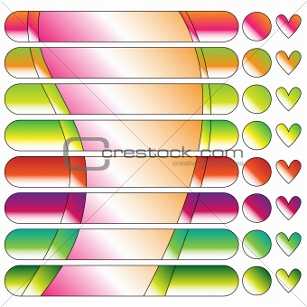 CColorful button or banner, dot and heart collection