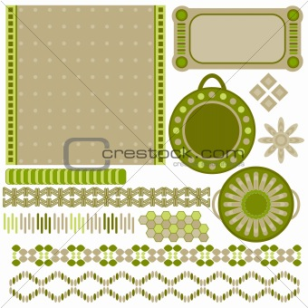 Green and beige tags and trims collection