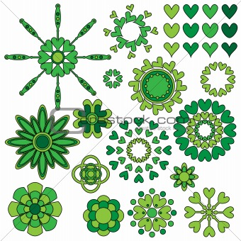 Green flowers and heart decorations