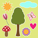 tree, flowers, butterfly, mushroom, sun and cloud