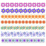 Colorful trim or border collection with flowers