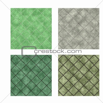 Green and gray floor tiles