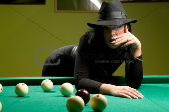 woman in the billiard club