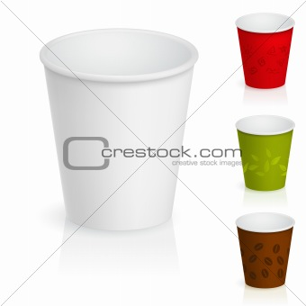 Empty cardboard coffee cups