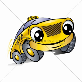 Car with a laughing face. Taxi.
