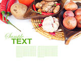 fresh vegetables and spices with sample text