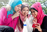 muslim girls having fun at park. they might be using 3g technology with their friend