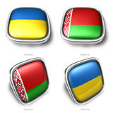 Ukraine and Belarus 3d flag button