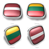Latvia and Lithuania 3d flag button