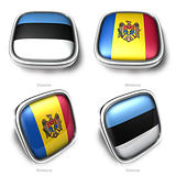 Estonia and Moldova 3d flag button