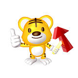 3d yellow cute tiger standing