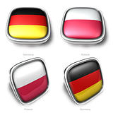 Germany and Poland 3d flag button