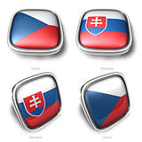 Czech and Slovakia 3d flag button