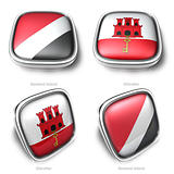 Sealand Island and Gibraltar 3d flag button