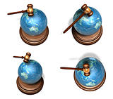 3d blue globe array