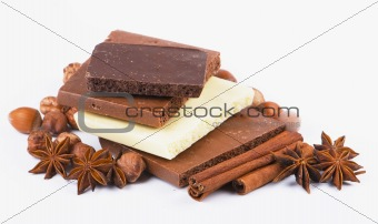 Cinnamon, anise, cloves and blocks of chocolate isolated
