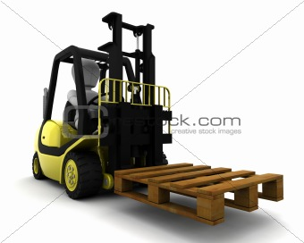 Man Driving Fork Lift Truck Isolated on White