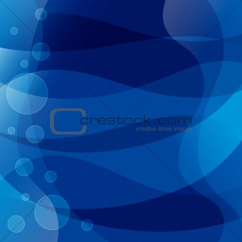 Blue background with waves and circles