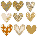 Whimsical beige, orange and brown heart collection
