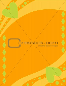 Beautiful orange background with green hearts