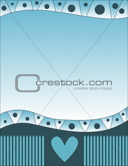 Blue background with hearts and dots
