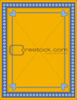 Beautiful blue and yellow background with hearts