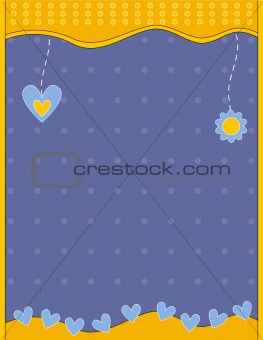 Blue and yellow background with hearts and flower