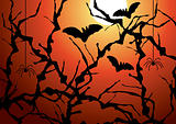 vector blackthorn branches, bats and spiders
