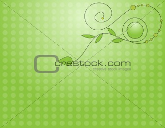 Green background with curl and leafs