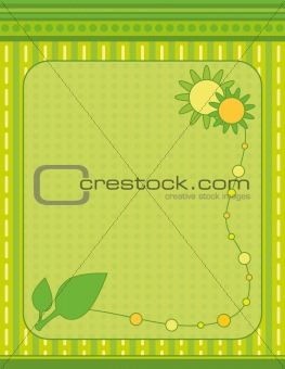 Green background with flowers and leaf