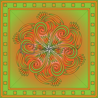 Green and orange ornamental background